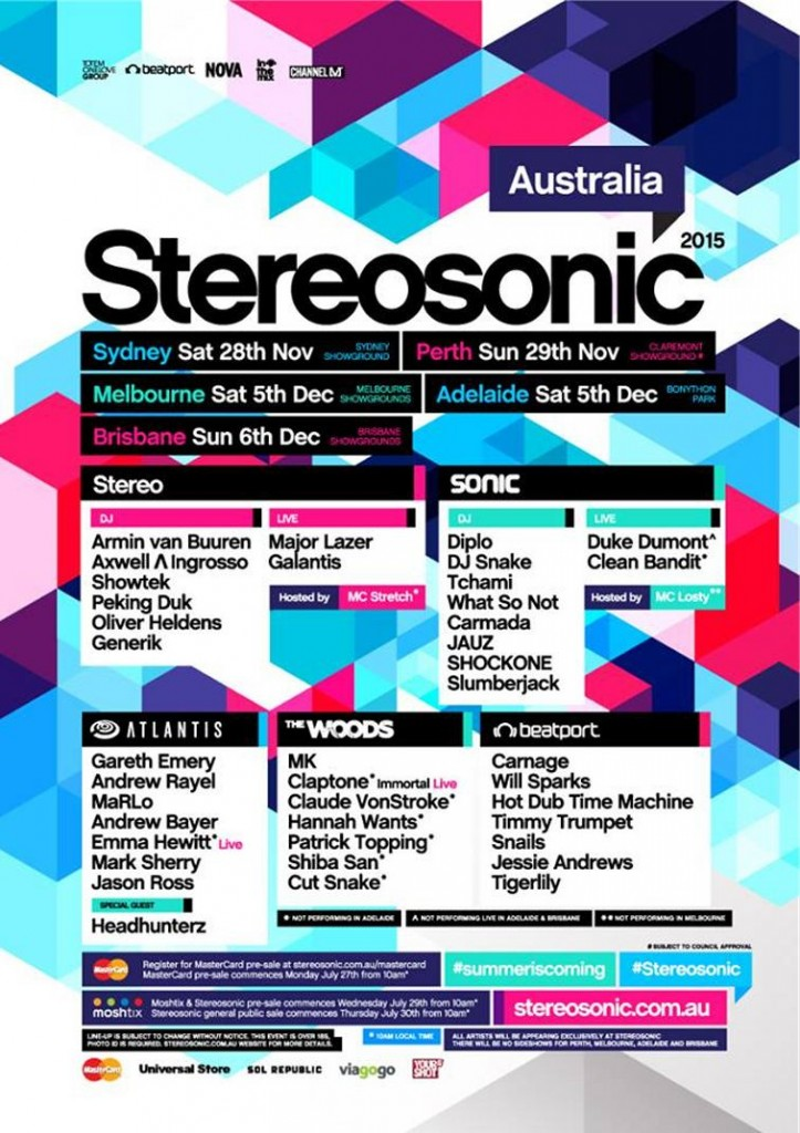 Stereosonic Announces 2015 Lineup