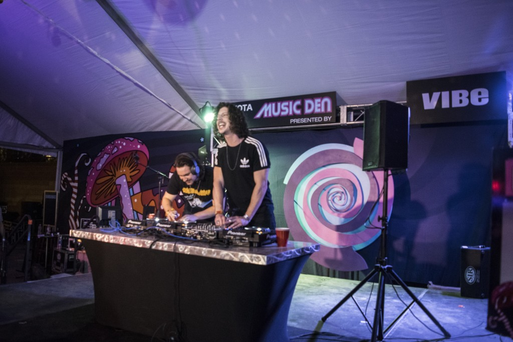 Peking Duk playing a small set at the Music Den.