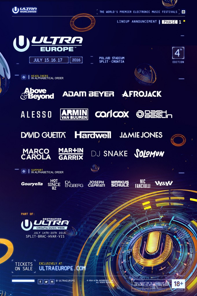 Ultra Europe Announces 2016 Phase 1 Lineup