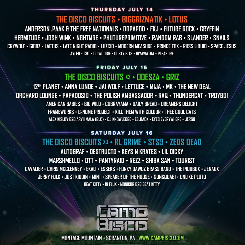 Camp Bisco Releases Daily Lineup